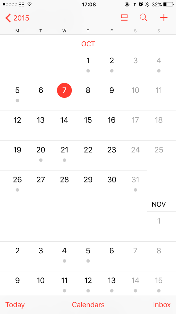 iPhone Calendar - October 2015 | SoSteffSo