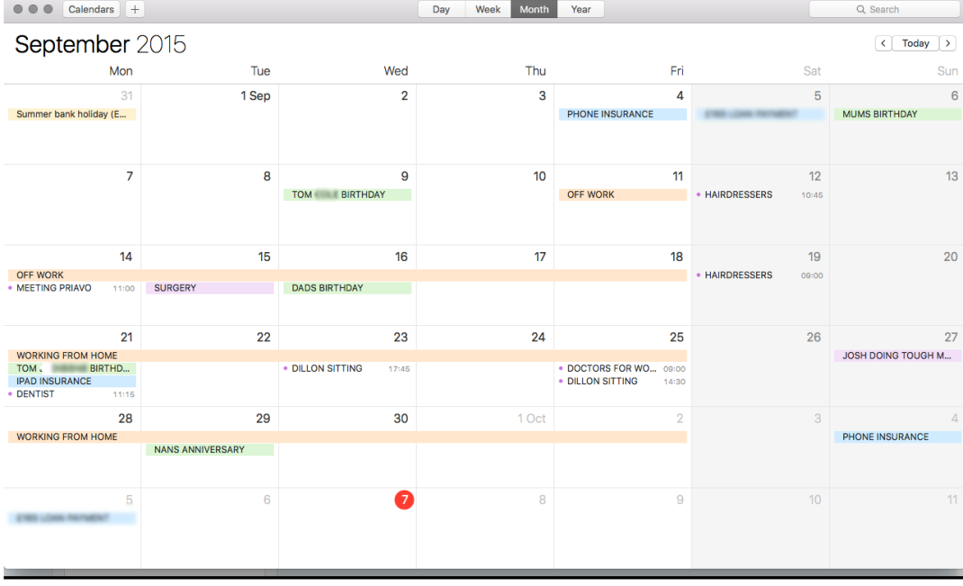 MacBook Calendar - October 2015 | SoSteffSo
